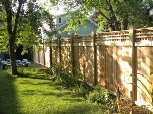 Wood fence along a back yard.