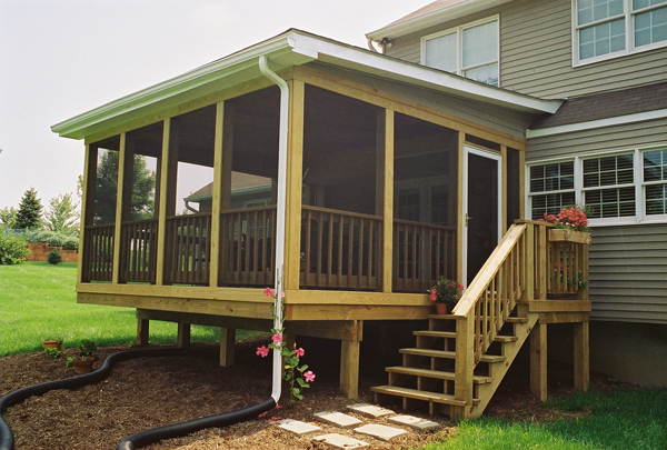 The advantages of screened porches in maryland for Screen room addition plans